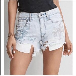 American Eagle Cut Off Embroidered Jean Shorts